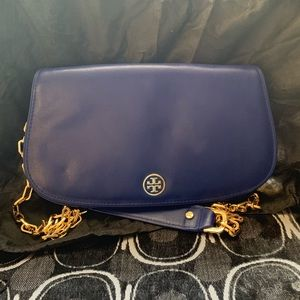 Tory Burch Blue Leather Fold-Over Bag